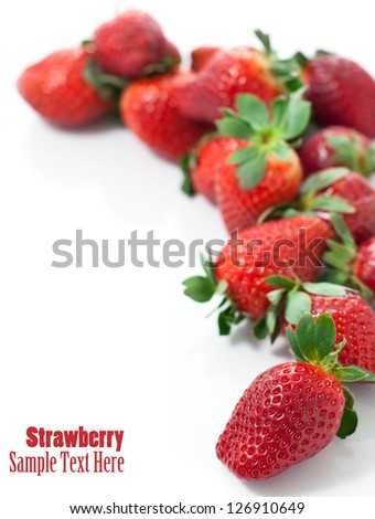 Fresh red strawberries isolated on white - stock photo