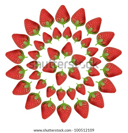 Fresh red strawberries isolated on white background - stock photo