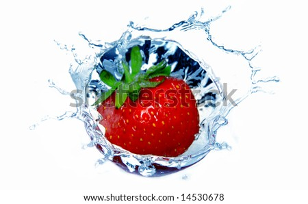 Fresh red strawberry in the blue water with splash - stock photo