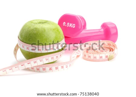 Fresh red tasty apple with measuring tape isolated on white