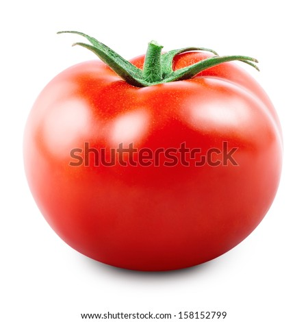 Fresh red tomato isolated on white - stock photo