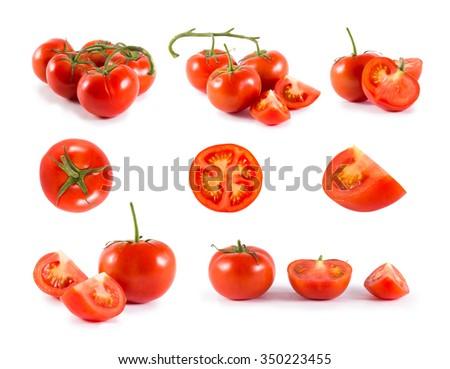fresh red tomato isolated on white - stock photo