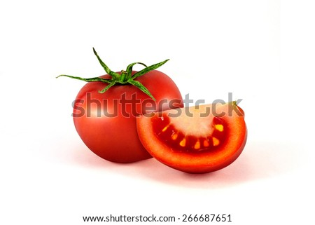 fresh red tomato isolated on white background - stock photo