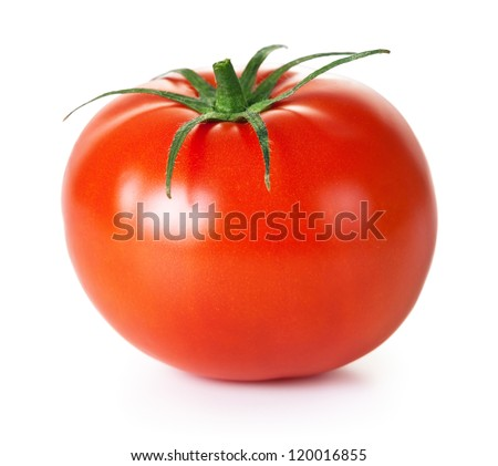 Fresh red tomato with green stem on white background - stock photo