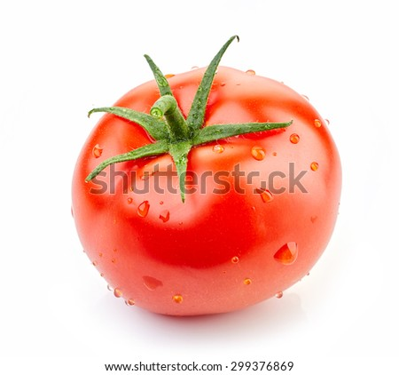 fresh red tomato with water drops isolated on white background - stock photo