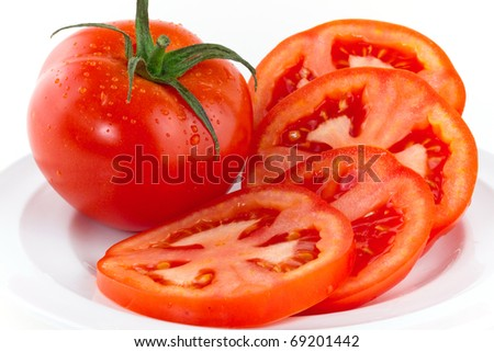 Fresh red tomatoes isolated on white