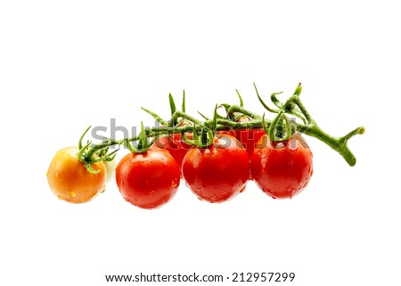 fresh red tomatoes on white background isolated - stock photo