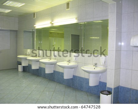 Fresh restroom area in public comfort zone