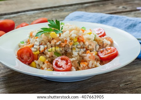 fresh rice and quinoa salad served on plate - stock photo