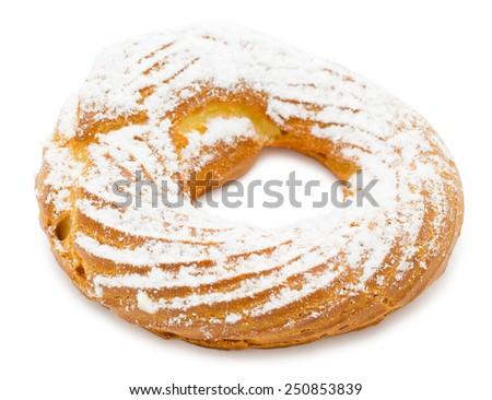 fresh ring cake - cream puff made of choux pastry - stock photo