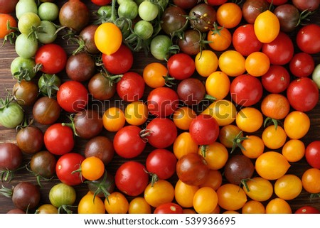 Fresh ripe and green cherry tomatoes , food top view