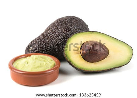 fresh,ripe  avocado on a white background - stock photo