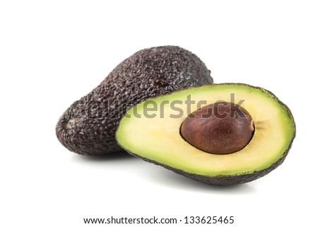 fresh,ripe  avocado on a white background - stock photo