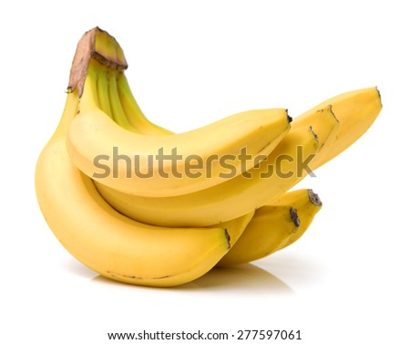 Fresh ripe bananas bunch isolated on white background  - stock photo