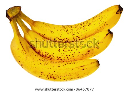 Fresh, ripe bananas isolated over white background. - stock photo