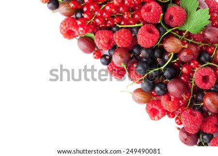 Fresh ripe berries. Isolated on white background with copy space - stock photo