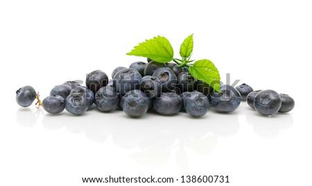 fresh ripe blueberries close up on a white background. horizontal photo. - stock photo