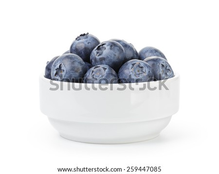 fresh ripe blueberries in white bowl - stock photo