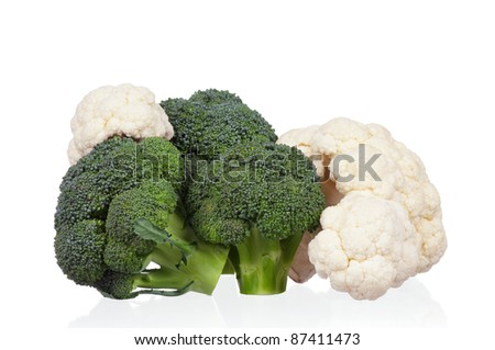 Fresh ripe broccoli piece and cauliflower cabbage vegetables on white background - stock photo