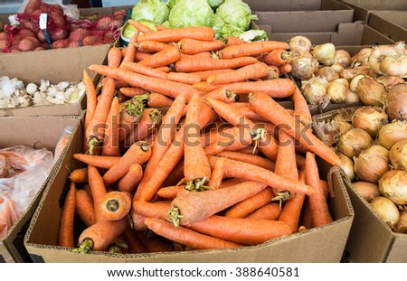 Fresh ripe carrot and over vegetables of new harvest ready to sale at the farmers market - stock photo