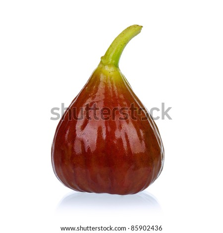 Fresh ripe fig isolated on a white background - stock photo