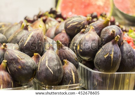 Fresh Ripe Figs heap in Street Market - stock photo