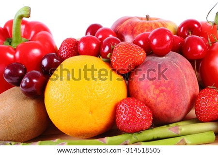 Fresh ripe fruits and vegetables, concept of healthy food, nutrition and strengthening immunity. White background - stock photo