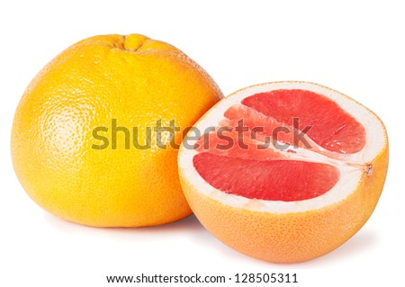 Fresh ripe grapefruits on a white background