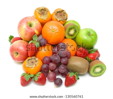 fresh ripe juicy fruits on a white background. Top view. - stock photo