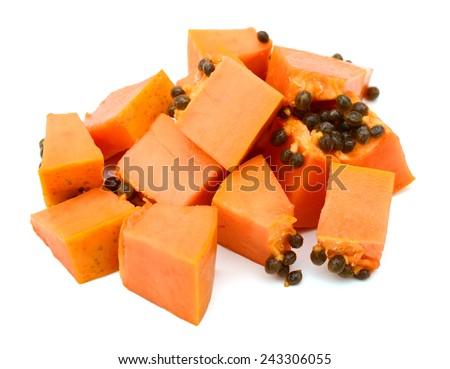 fresh ripe juicy papaya slice on white background  - stock photo
