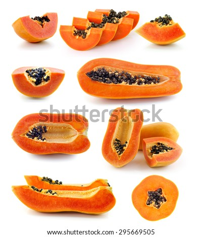 fresh ripe juicy papaya slice  on white background - stock photo