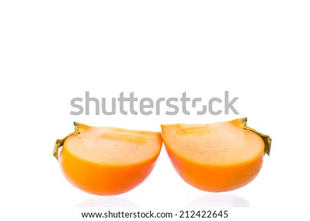 fresh ripe juicy persimmons Isolated On White