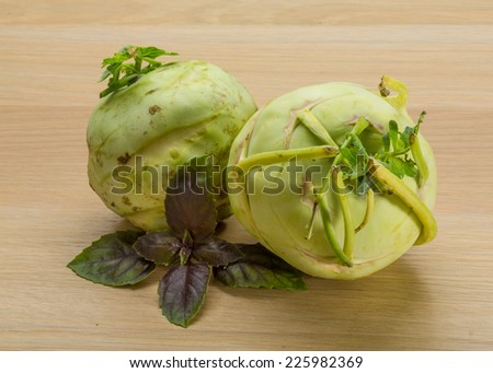Fresh ripe Kohlrabi on the desk - stock photo