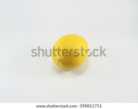 Fresh ripe lemon. Isolated on white background - stock photo