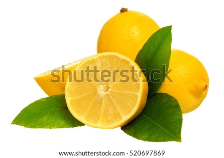 Fresh ripe lemon with green leaves isolated on white background
