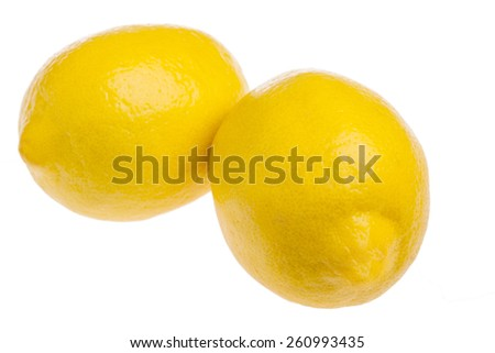 Fresh ripe lemons isolated on white background - stock photo