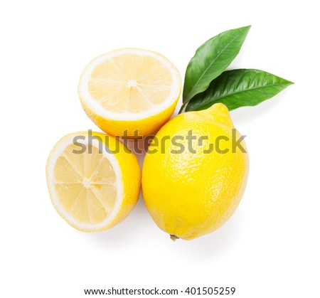 Fresh ripe lemons. Isolated on white background. Top view - stock photo