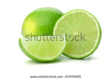 Fresh ripe lime. Isolated on white background - stock photo