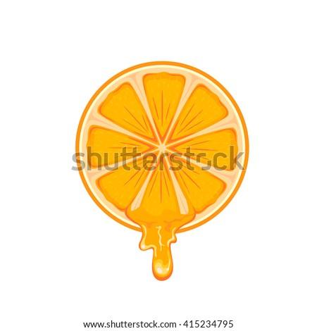 Fresh ripe orange isolated on white background, illustration. - stock photo