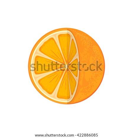 Fresh ripe orange isolated on white background, juicy orange icon, illustration. - stock photo