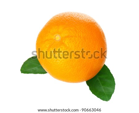 Fresh ripe orange with green leaves on white background