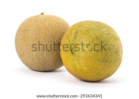 Fresh ripe organic cantaloupe melons isolated on white background - stock photo