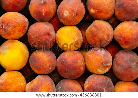 Fresh ripe peaches background - stock photo