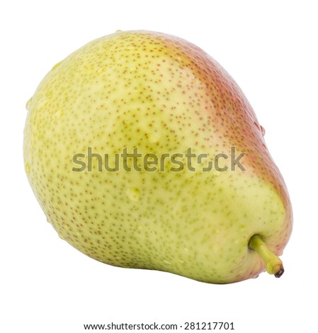 Fresh ripe pear with waterdrops on isolated white background