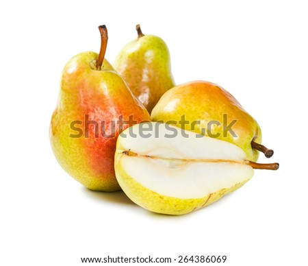 Fresh ripe pears isolated on white background - stock photo