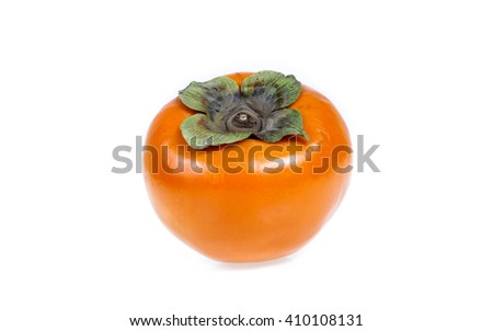 fresh ripe persimmons isolated on white background - stock photo