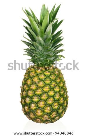 Fresh ripe pineapple isolated on white background - stock photo