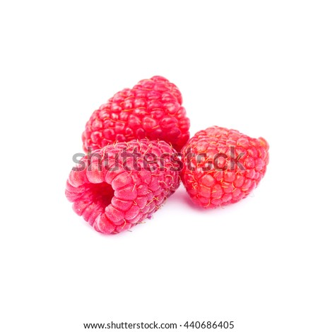 Fresh, ripe raspberries isolated on white background - stock photo