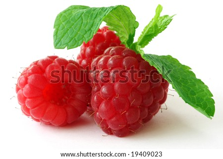 Fresh, ripe raspberries on white - stock photo
