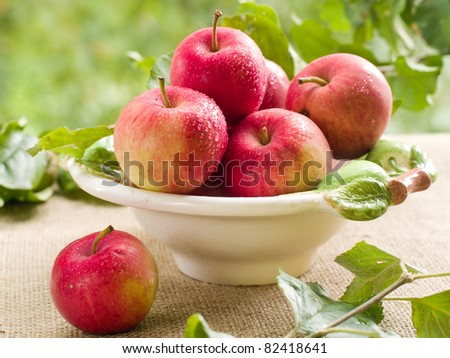 Fresh ripe red apples in bowl on natural  background. Selective focus - stock photo